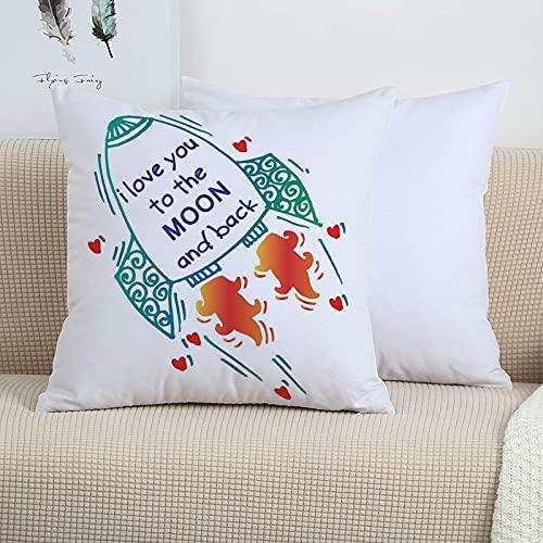 Funda Cojin 45 x 45 - Fundas Cojines Decorativas de Poliéster Muy Suave,Te amo, lindo cohete que va al espacio Motivaci,Funda de Almohada Cuadrada para Sofá, Dormitorio y Sala de Estar, con Cremallera