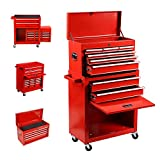 8-Drawer Tool Chest,Rolling Tool Cabinet and Big Tool Storage Boxes, Portable Removable Big Tool Chest with 4 Wheels and Sliding Metal Keyed Locking System Drawers (Red)