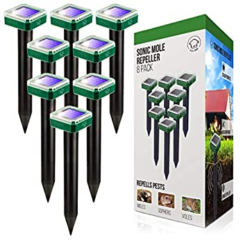 Livin  Well Solar Sonic Pest Repeller Stakes - 8pk Outdoor Pest Repellent with 10,500 Feet Range Solar Powered Animal Control Rodent Repellent and Deterrent for Mole Vole Gopher