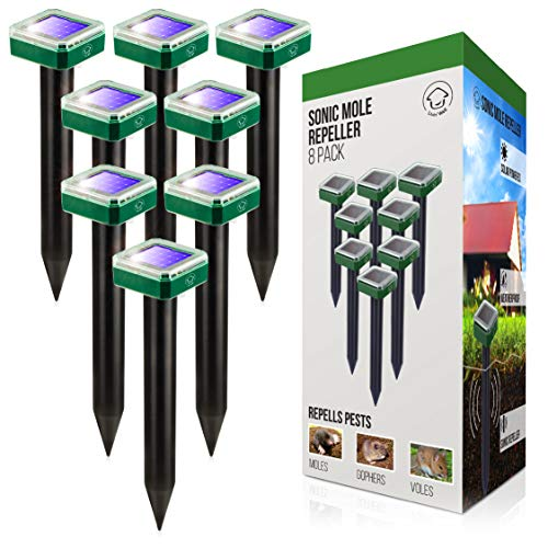 Livin' Well Solar Sonic Pest Repeller Stakes - 8pk Outdoor Pest Repellent with 10,500 Feet Range, Solar Powered Animal Control, Rodent Repellent and Deterrent for Mole, Vole, Gopher