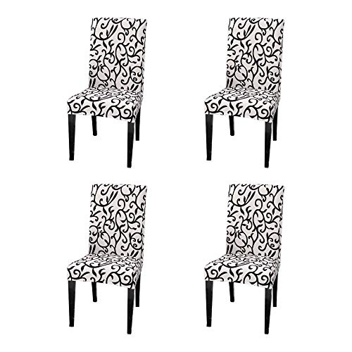 Argstar 4 Pack Chair Covers, Stretch Armless Chair Slipcover for Dining Room Seat Cushion, Spandex Kitchen Parson Chair Protector Cover, Removable & Washable, Black and White X_14