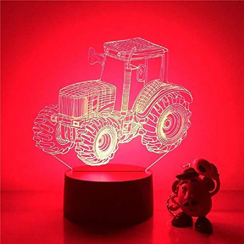 Lámpara 3D Luz De Noche Led Neumático Grande Tractor Agrícola Figura De Acción 7 Colores Decoración De Mesa Táctil Luz Ilusión Óptica
