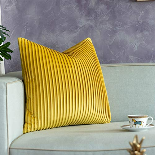 vctops Decorative Striped Texture Throw Pillow Covers Square Cushion Cases Pillowcase for Bed Sofa Couch Chair Car Home Decor (Yellow, 20'x20')