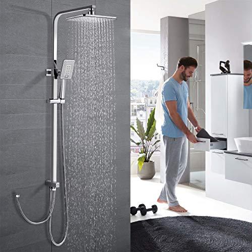 WOOHSE (Neue Version) Duschsystem Duschsäule ohne Wasserhahn Dusche Regendusche Duscharmatur inkl Duschkopf und Handbrause, Duschset mit Höhenverstellbar ca. 79.5 bis 122.5cm(bei Installation), chrom