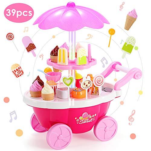 Buyger 39 Stück Mini Küche Kinder Eiswagen Lebensmittel Trolley Spielzeug mit Sound und Licht Rollenspiel Spielzeug Geschenke Kinder (Rosa)