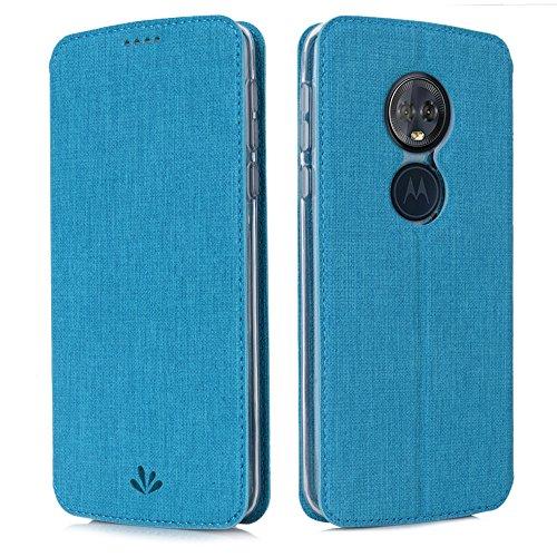Eastcoo Handyhülle für Motorola Moto G6 Play Hülle PU Leder Flip Hülle Tasche Cover Schutzhülle mit [Standfunktion][Magnetic Closure][Wallet] für Motorola Moto g6 Play Smartphone (Blue)