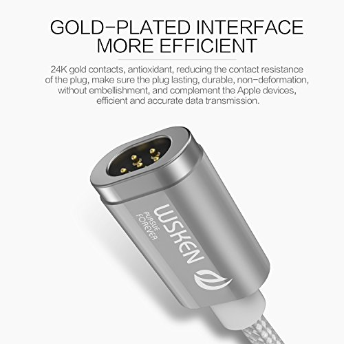 Wsken Mini2 Micro USB Magnetic LED Display Data Sync Fast Charge 3.28ft Cable for Android (Silver)