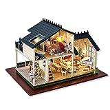 TOMMY LAMBERT Puppenhaus mit LED-Licht DIY Holz Landhaus handgefertigt montiert Villa Wisdom...