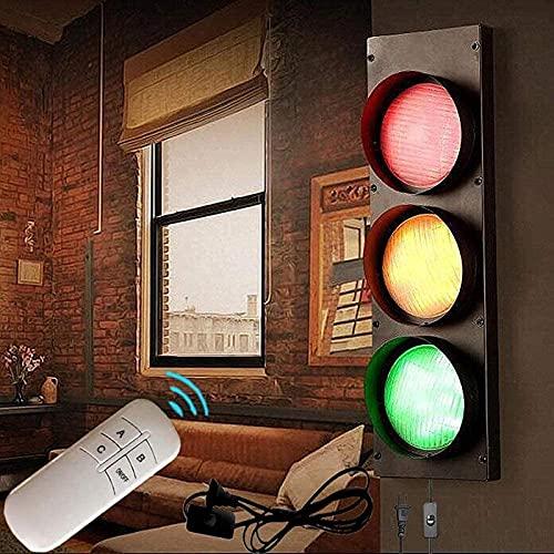 QDF Lámpara de Pared Industrial LED con Control Remoto, Decoración de Pared con Semáforo, Decoración para Fiestas Temáticas en el Hogar del Garaje