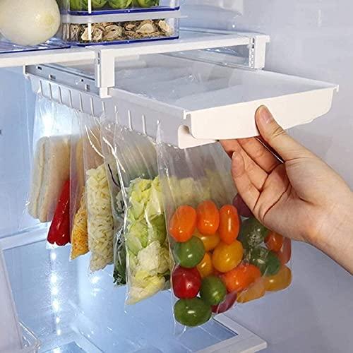 HUKTOR Ziplock Bag Organizer Retractable Refrigerator Food Bag Hanging Storage Rail Rack, Kitchen Fridge Shelf Holder Clip Sliding Rail Tray- Perfect for Food Fresh-keeping (white)