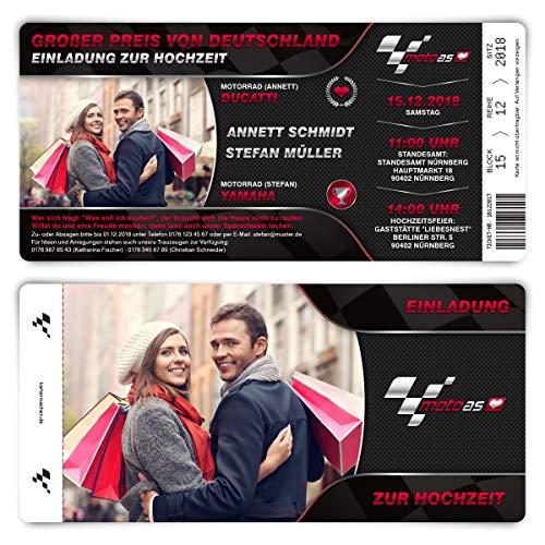 20 x Hochzeitseinladungen Einladungskarten individuell mit echtem Abriss - Motorrad Rennen Ticket