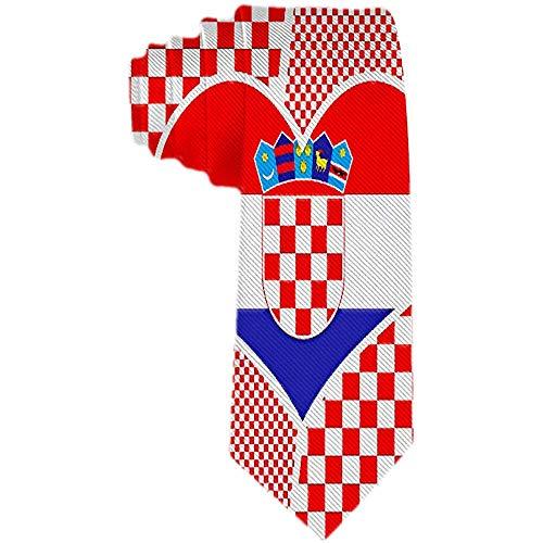 Herren Krawatte Collage Kroatische Flagge Rot Weiß Polyester Seidenkrawatte