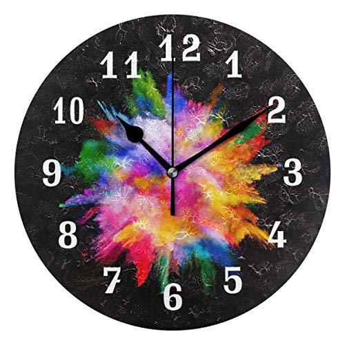 DOSHINE Wanduhr, abstrakte Kunst Regenbogen leise, Nicht tickende Uhr Schlafzimmer Wohnzimmer Küche Home Decor