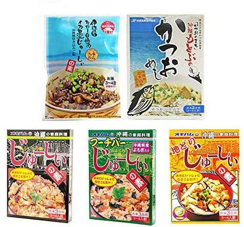 オキハムジューシー全5種ギフトセット 地どり フーチバー かつおめし イカスミ 沖縄ならではの食材 満載