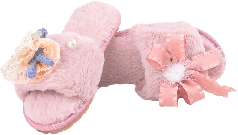 Women's Bowknot Fur Open Toe Soft Slippers Indoor Slide Sandals Warm Terlik Lace Floor Slipper Home shoes