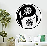 Calcomanía de vinilo Mandala Flor Cultura china Yin Yang Taiji-Bagua Etiqueta de la pared Sala de estar Estudio de yoga Dormitorio Decoración para el hogar Póster mural artístico