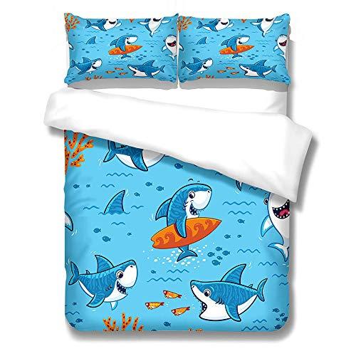 PPYFLFT Funda De Edredón Animal Tiburón Azul Juego De Funda Nórdica Funda De Edredón De Microfibra Suave con 2 Funda De Almohada Adecuado para Niños Niños Y Niñas 200 cm X 200 cm