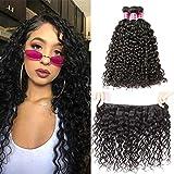 BEAUFOX Curly Hair Weave 3 Bundles(16 18 20) Brazilian Virgin Human Hair Water Wave 100% Unprocessed 10A Grade Hair Bundles Wet and Wavy Natural Color Hair Bundles