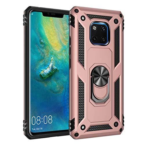 Smfu Funda Compatible Huawei Mate 20 Pro Carcasa [Robusto] 360°Anillo Metálico Soporte FundaCarcasa Híbrida Rugged Armor Choque Absorción de Caja[con Mica 1Unidades]-Oro Rosa
