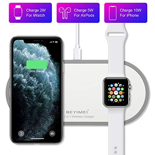BEYIMEI 2-in-1 draadloze oplader, 10 W Qi Fast draadloze sensor-oplader, compatibel met Airpods 2.0, iWatch Series 5 4 3 2 1 en OS 6.0, iPhone 8, 8 Plus, X, Xr, Xs, Max, iPhone 11 Pro Max