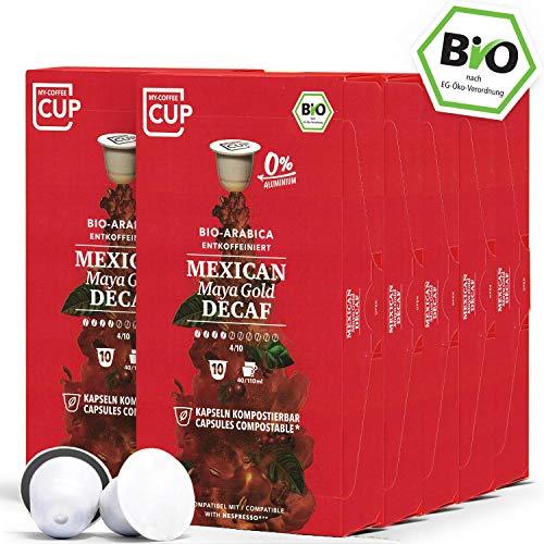 BIO Kaffeekapseln von My-CoffeeCup | Kompatibel mit Nespresso®*-Maschinen | Industriell kompostierbare Kapseln ohne Alu (Mexican Maya Gold Decaf, 100 Kapseln)