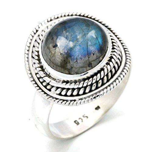 Labradorit Ring 925 Silber Sterlingsilber Damenring grün blau (MRI 126-05), Ringgröße:50 mm/Ø 15.9 mm