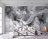 Papier Peint Panoramique 3D Plumes Blanches De Simple Et Tapisserie Murales Salon Papier Peint Intissé Mural