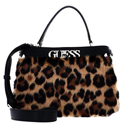 Guess Gwen TURNLOCK Satchel, Bags Donna, Leopard, Taglia Unica