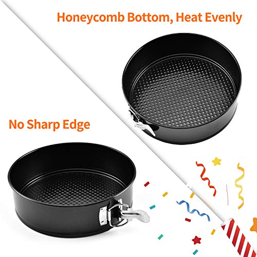 "Springform Cake Tins Sets, AOBETAK Nonstick & Leakproof Set of 3 (4""/7""/9"") Round Cake Tin, Baking Pan with Removable Loose Base, Ideal for Cheesecakes and Sponges; Black,4 Inch/ 7 Inch/ 9 Inch"