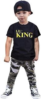 Fineser 2PCS Toddler Little Boy Lil's King Short Sleeve T-Shirt Tops+Camouflage Long Pants Outfits Set