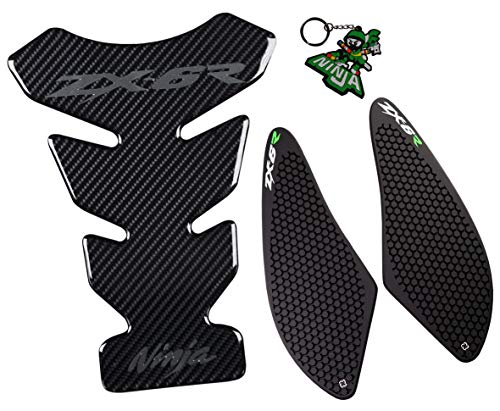 REVSOSTAR Real Carbon Look, Motorcycle Reflective Sticker, Vinyl Decal Emblem Protection, Gas Tank Pad, Fuel Knee Grip Decal for Ninja ZX6R 2007-2008