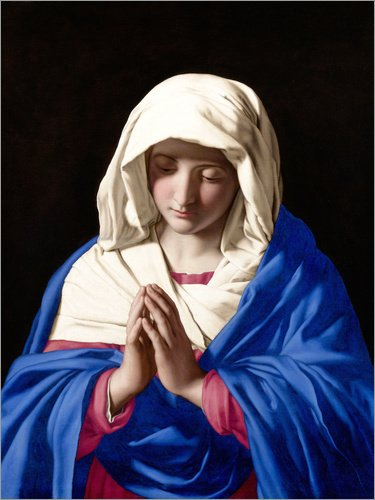 Posterlounge Cuadro de PVC 120 x 160 cm: Virgen Rezando de Il Sassoferrato