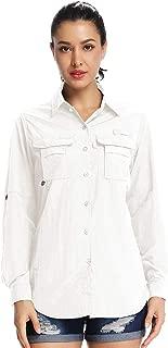 Womens Quick Dry Sun Protection Convertible Long Sleeve to Short Sleeve Shirts, Hiking Camping Fishing Sailing Blouse