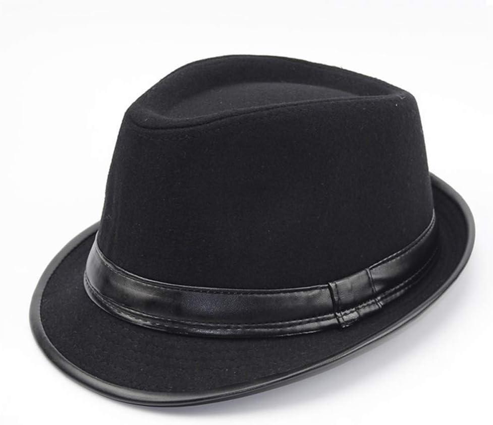 GR Men Women Charm Cowboy Hats Leather American, Winter Vintage Black Hats Fedora (Color : 2, Size : 56-59cm)