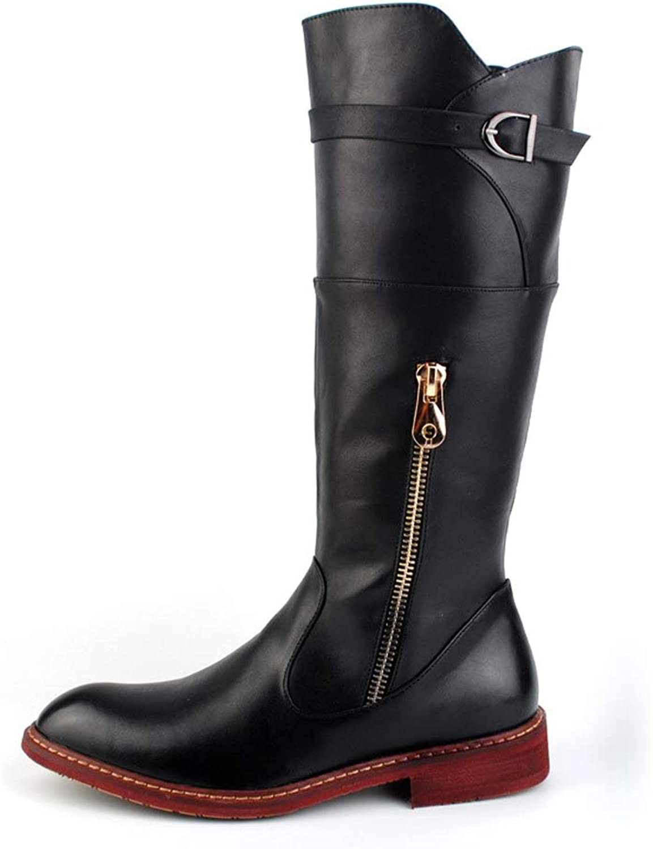 MUMUWU Men's Fashion Knee High Boots PU Leather Side Zipper Slip On British Style Combat shoes Winter