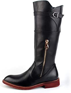 [Shuo lan JP] メンズファッションロングブーツPUレザーサイドジッパースリップオン英国スタイルの戦闘靴 通気