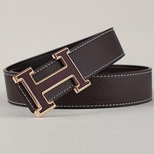 KOUG Cintura da Uomo in Pelle Casual Lettera Fashion Simple Smooth Fibbia della Cintura, Brown