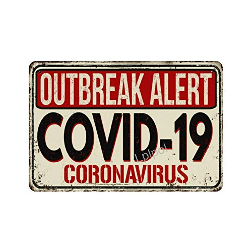 Lplpol Covid 19 Coronavirus Disease Vintage Metal Sign, 8x12 Inch Decorative Aluminum Sign Novelty Wall Decor, SDS 89