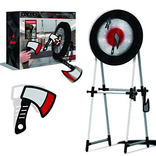 The Black Series Axe Throwing Target Set, 3 Throwing Axes and Bristle Target, Active and Safe Play, Blunted Edges and Lightweight Plastic, Indoor or Outdoor Use and Backyard Fun