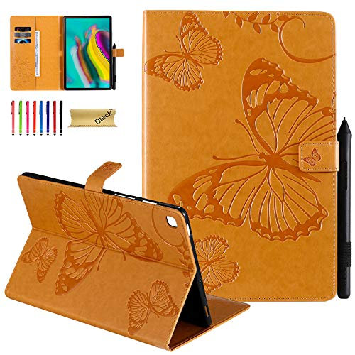 Dteck Case for Samsung Galaxy Tab S5e 10.5 2019 - Pretty Butterfly Premium Leather Folio Stand Shockproof Case with Auto Wake/Sleep Smart Cover for Galaxy Tab S5e 10.5 SM-T720/T725, Yellow