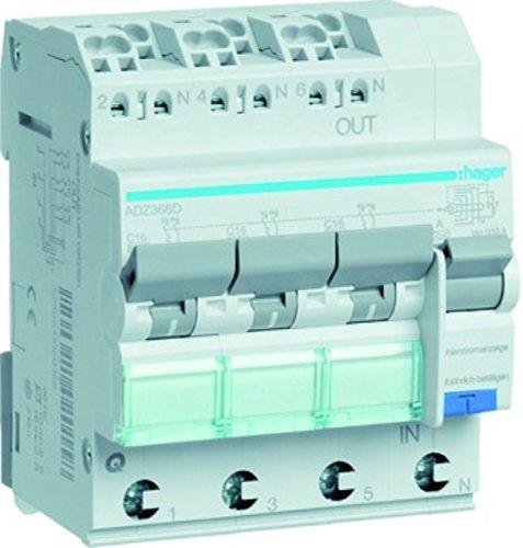 Hager FI/LS-Schalter ADZ366D 3X 1P+N, 6 kA Kombination FI-Schalter/Leitungsschutzschalter 3250611020189