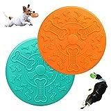 Jouet pour Chiens Frisbee,2 Disque Chien,Frisbee pour Chien,Frisbee Jouet Chien,Utilisé pour Les Activités de Plein Air des Grands Chiens,Dressage de Chiens(Orange et Vert)