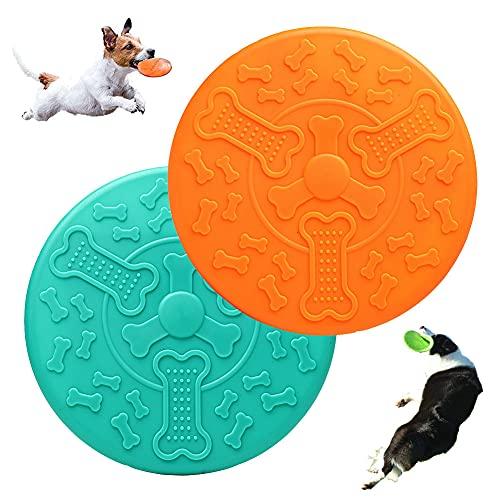 2 Frisbee de Perro,Perros Interactivos Frisbee,Frisbee de Goma,Juguete Frisbee para Perros,Se Puede Utilizar en el Agua y la Tierra(Naranja y Verde)
