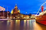 Night Panorama Of The Old Town In Helsinki Finland Europe