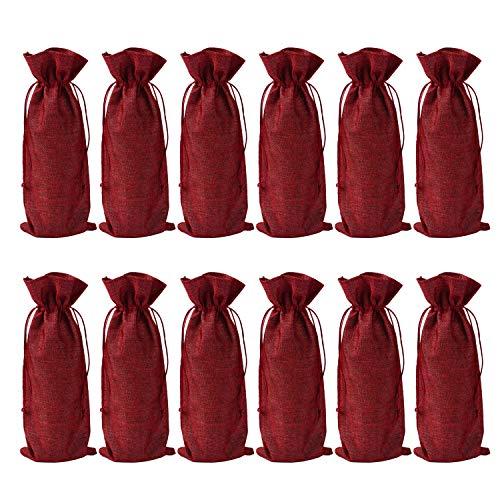 GreeStore Jute-Weinflaschen-Beutel, wiederverwendbar, mit Kordelzug, 35,6 x 15 cm, Rot, 12 Stück