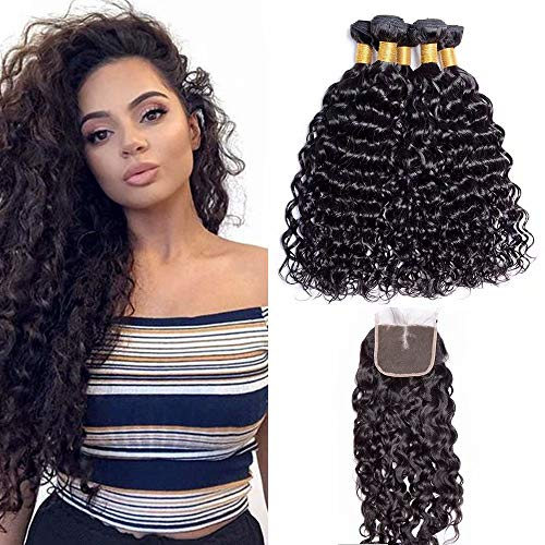 """Maxine Brazilian Water Wave 3 Bundles with Closure 10A Unprocessed Virgin Hair with 4""""4"""" Lace Closure Middle Part Natural Color 10 12 14+10inch"""