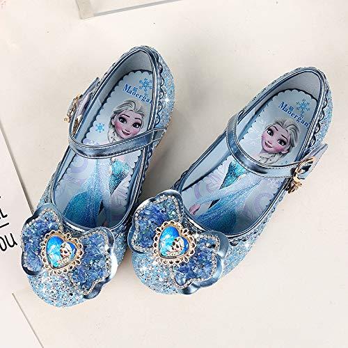 DSZZ Health Sandalias Brillantes para niñas con Velcro Zapatos de práctica de Jazz de Tango Latino Zapatos de Baile de Fiesta de tacón bajo de Moda,Azul,25