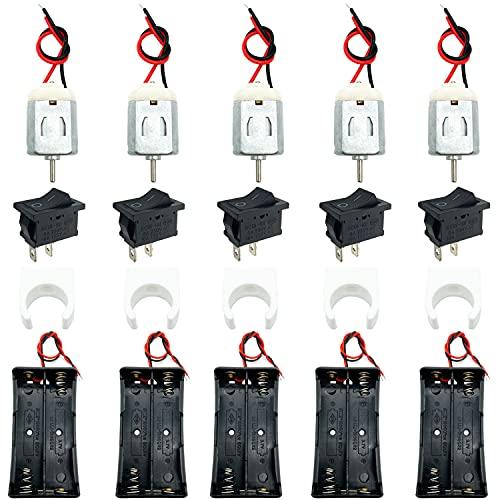 GALDOEP5piezas Juego de Motor Eletrico,Mini Motor Electrico 3V 18000RPM motor,con 3.7Vsoporte de batería, soporte de montaje del motor, interruptor basculante de barco, para juguetes de bricolaje
