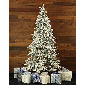 Fraser Hill Farm 7.5-Ft. Flocked Mountain Pine Clear LED String Lighting Artificial Christmas Tree, White