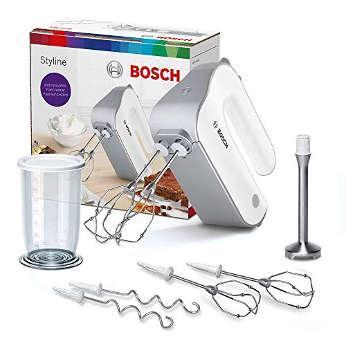 Bosch Handrührer Set Styline MFQ4075DE, 550 Watt Motor, 2 FineCreamer Rührbesen, 2 Knethaken aus Edelstahl, 2 Turbobesen, 5 Geschwindigkeitsstufen, Turbostufe, leicht & leise, silber / weiß